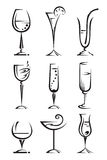 Drinking glass collection. Set of wine and liqueur glasses Stock Photography