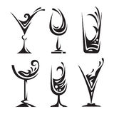 Drinking glass collection. Set of wine and liqueur glasses Royalty Free Stock Photo