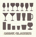 Drinking Glass Silhouette Collection Royalty Free Stock Images