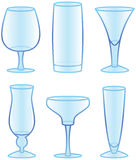 Drinking Glasses. In various styles. EPS 10 file stock illustration
