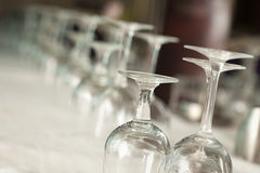 Drinking Glasses Abstract in Formal Dining Room Royalty Free Stock Image