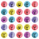 Drinking glasses collection – martini, wineglass, cognac, whis Stock Photos