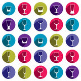 Drinking glasses collection – martini, wineglass, cognac, whis. Key and champagne. Alcohol theme simple illustrations, lifestyle design elements. Different Stock Image