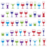 Drinking glasses collection – martini, wineglass, cognac, whis. Key and champagne. Alcohol theme simple illustrations, lifestyle design elements. Different Royalty Free Stock Photo