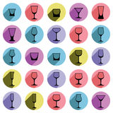 Drinking glasses collection, martini, wineglass, cognac, whiskey Royalty Free Stock Photography