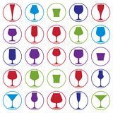 Drinking glasses collection, martini, wineglass, cognac, whiskey Stock Photos