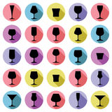 Drinking glasses collection, vector martini, wineglass, cognac,. Whiskey and champagne. Alcohol theme simple illustrations, lifestyle design elements. Different Stock Photography