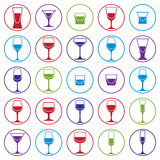 Drinking glasses collection,vector martini, wineglass, cognac. Drinking glasses collection, vector martini, wineglass, cognac, whiskey and champagne. Alcohol Stock Photography