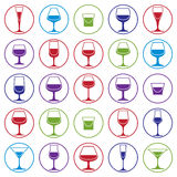 Drinking glasses collection, vector martini, wineglass, cognac,. Whiskey and champagne. Alcohol theme simple illustrations, lifestyle design elements. Different Stock Image