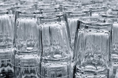 Drinking glasses in rows Stock Photo