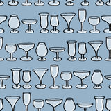 Drinking Glasses Seamless Background. Stock Images