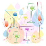 Drinking glasses and stemware. A small set of drinking glasses and stemware Royalty Free Stock Images