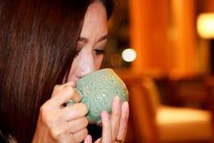 Drinking Healthy green tea Stock Photos