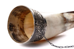 Drinking horn isolated on white Royalty Free Stock Photography