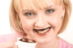 Drinking hot chocolate Royalty Free Stock Photography