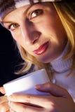 Drinking hot tea stock photos