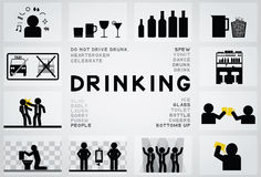 Drinking icon. Drinking 12 icon and text Stock Photos