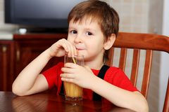 Drinking a juice Stock Images