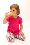 Drinking juice Royalty Free Stock Photos
