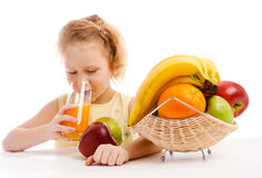 Drinking juice Stock Images