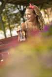 Drinking lemonade Royalty Free Stock Photos