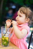 Drinking lemonade Royalty Free Stock Photo