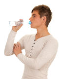 Drinking man with bottle of water Royalty Free Stock Images
