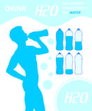 Drinking Man Gulp H2O Water Thirsty Dehydration Royalty Free Stock Photography