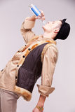 The drinking man portrait Stock Images