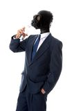 Drinking mask man. Man in blue suit with mask drinking stock images