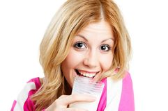 Drinking milk Royalty Free Stock Photos