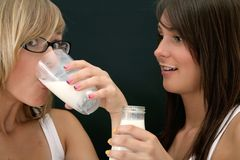 Drinking milk Stock Image
