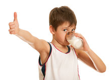 Drinking milk boy Royalty Free Stock Image