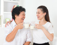 Drinking milk at home Royalty Free Stock Images