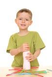 Drinking milk/jogurt royalty free stock image