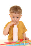 Drinking milk/jogurt Royalty Free Stock Images