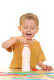 Drinking milk/jogurt Stock Image