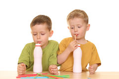 Drinking milk/jogurt Stock Photos