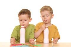 Drinking milk/jogurt stock photos