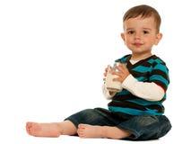 Drinking milk little boy Stock Photos