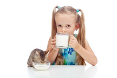 Drinking milk with my best friend Stock Photography