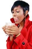 Drinking Mochaccino royalty free stock image