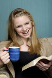 Drinking Morning Coffee & Reading Royalty Free Stock Photography