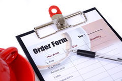 Drinking order form attach on clipboard. Royalty Free Stock Photos