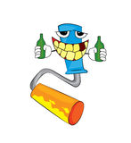 Drinking painting roller cartoon Royalty Free Stock Photo
