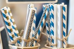 Drinking paper colorful straws for reusable and reduce the use of plastic straw stock photo