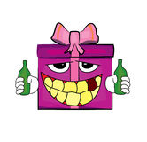 Drinking Present box cartoon Stock Image