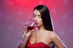 Drinking red wine. Stock Photos