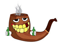 Drinking smoking pipe cartoon Royalty Free Stock Photos