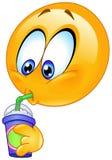 Drinking soda emoticon vector illustration